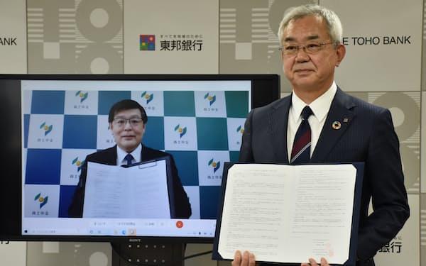東邦銀の佐藤稔頭取(右)は商工中金の阿部学常務執行役員とオンラインで覚書を交わした(5月31日、東邦銀本店)