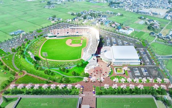 盛岡南公園野球場(仮称)は幅広い世代が利用できる多目的施設として計画している(イメージ)=盛岡南ボールパーク提供