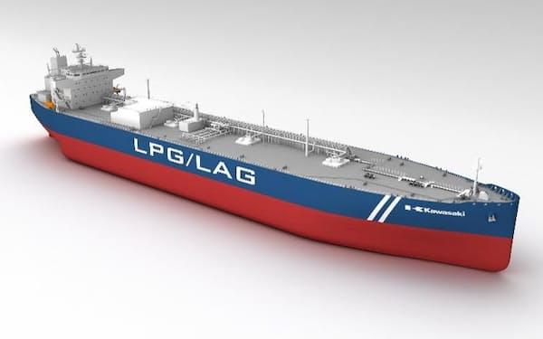 LPGと液化アンモニアの兼用船として実用化する(イメージ)