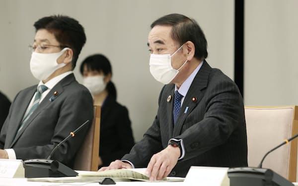 3月の連絡調整会議で発言する坂本少子化相(右)=首相官邸