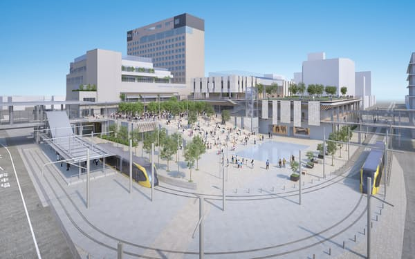 宇都宮駅東口再開発の完成予想図。ヨークベニマルは中央左の複合施設1階に出店する