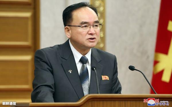 金正恩氏の側近とされる朝鮮労働党の趙甬元(チョ・ヨンウォン)政治局常務委員=朝鮮通信