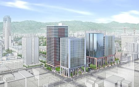 新たに建てる3棟の高層ビルの完成イメージ