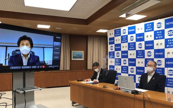 田村厚労相とのオンライン面談で、最低賃金の引き上げを求める神津会長(写真右、連合本部)
