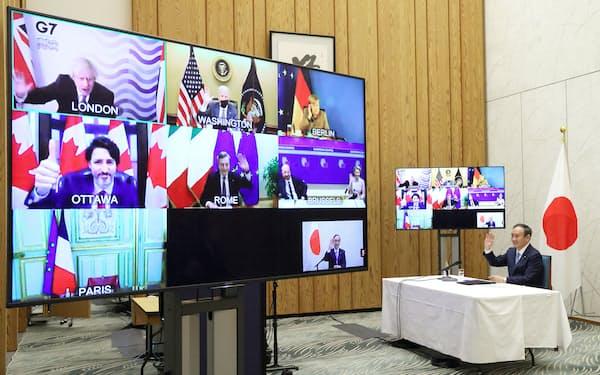 G7首脳によるテレビ電話会議に臨む菅首相=19日、首相官邸(内閣広報室提供)