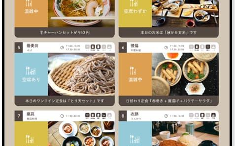 スマートフォンで店舗の混雑状況や空席情報を確認できる(ノマチの画面イメージ)