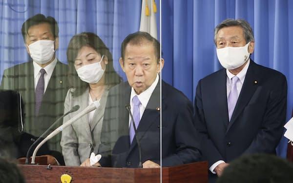 記者会見する自民党の二階幹事長(右から2人目)=6月1日、東京・永田町の党本部
