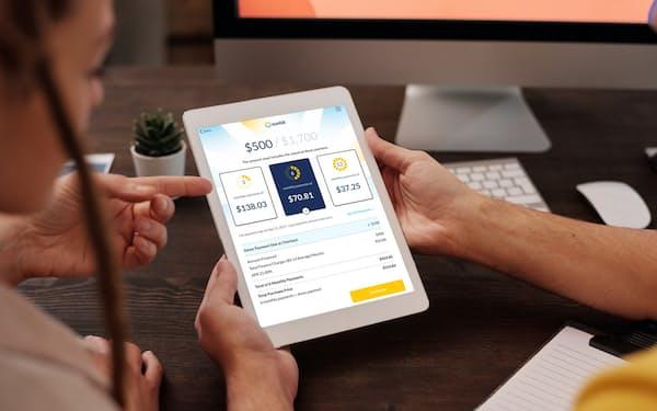 店舗での決済に使う米サンビットのタブレットアプリ画面(同社提供)