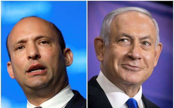 イスラエルのネタニヤフ首相㊨と次期連立政権で首相に就くとしたベネット氏=ロイター