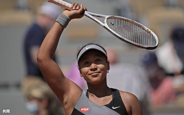 テニスの全仏オープン女子シングルス1回戦を勝った大坂なおみ=共同