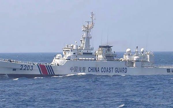 尖閣周辺で確認されたことがある中国海警局の艦船(第11管区海上保安本部提供)=共同