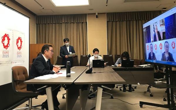 国際経済フォーラムに参加する松井一郎大阪市長(3日、大阪市役所)