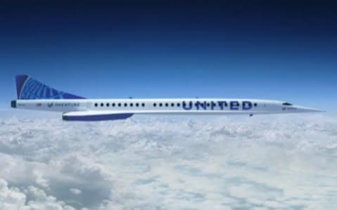 超音速機はこれまでの旅客機の2倍の速度で運航する(ユナイテッド航空のホームページ)