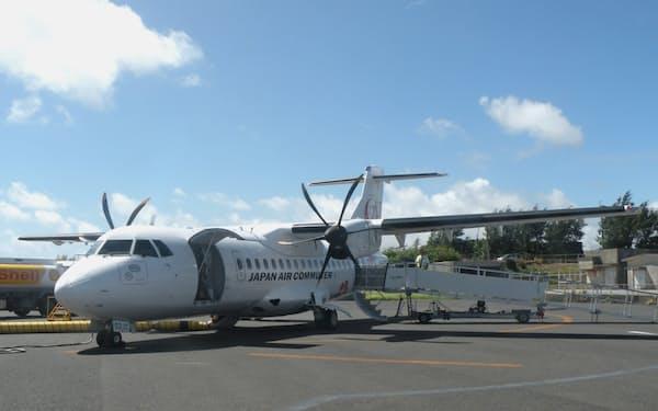 日本エアコミューター(JAC)が導入した欧州ATRのプロペラ機=日、鹿児島県