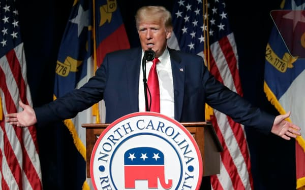 トランプ前米大統領は約3カ月ぶりに公の場で演説に臨んだ=AP