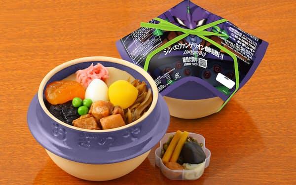 弁当の器は映画に登場する「初号機」と同じ紫色にした (c)khara
