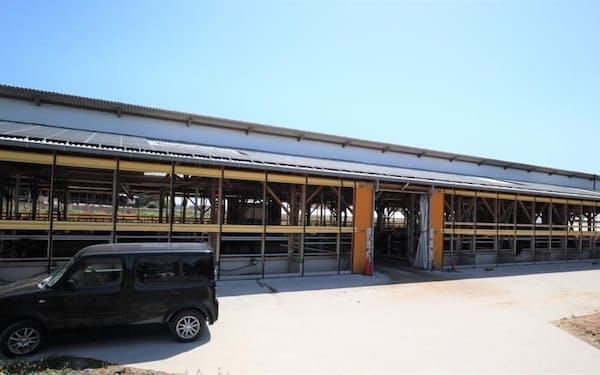 ソニーの工場へ送電する太陽光発電パネルを設置した牛舎(出所:デジタルグリッド)