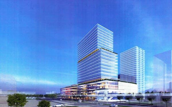 高さ約98メートルの高層複合ビル建設を予定していた(イメージ)