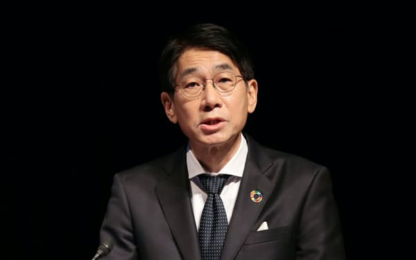 講演するNECの森田隆之社長(7日、東京・大手町)