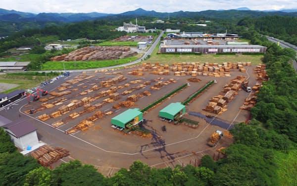 大分県日田市の木材市場では杉やヒノキの価格が上昇している