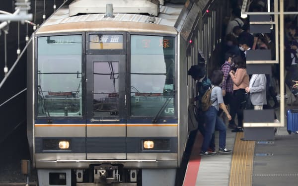 JR西日本の電車と乗降客