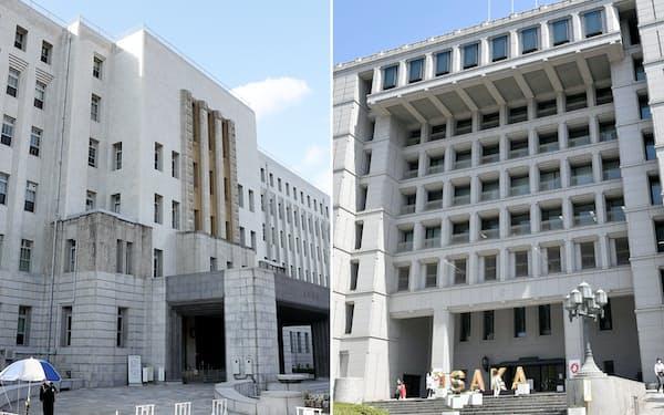 大阪府庁(写真左)と大阪市役所