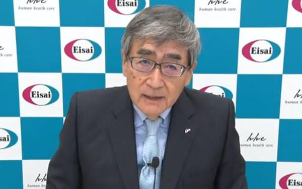 エーザイの内藤CEOは新薬の承認について「感無量の思いだ」と話した(9日、オンライン説明会)