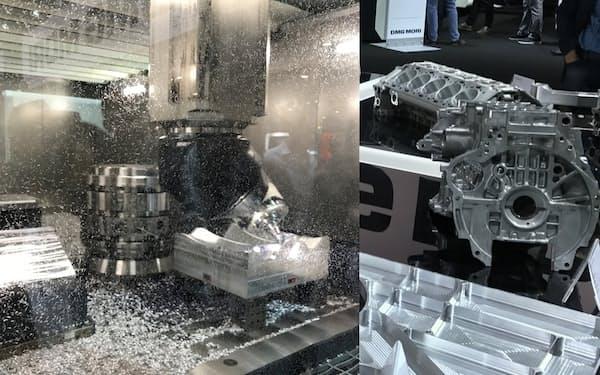 自動車部品とそれらを加工する工作機械(写真:日経クロステック)