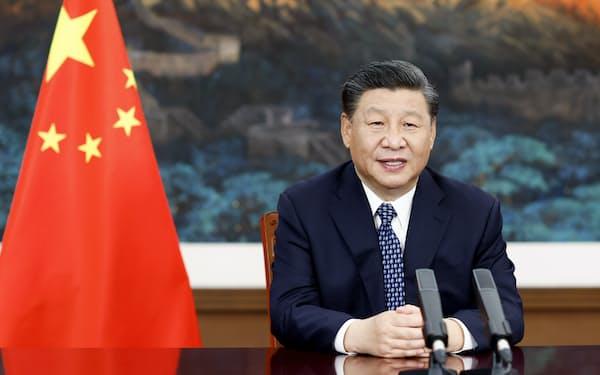 2022年の中国共産党の党大会に向け、株高が予想される(オンラインで開催された「世界保健サミット」に臨む中国の習近平国家主席=5月21日、北京)=新華社・共同