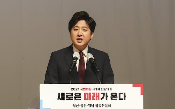 韓国の保守系最大野党「国民の力」の代表に選ばれた李俊錫氏=聯合
