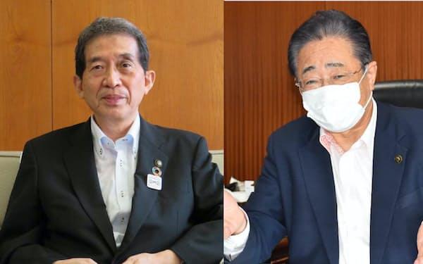 京都府舞鶴市の多々見良三市長(左)と、福島県相馬市の立谷秀清市長(右)