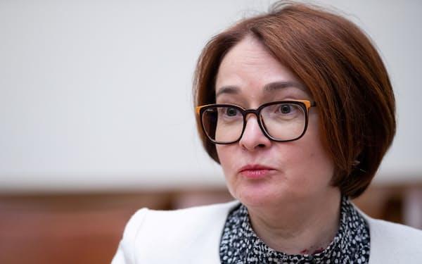 ロシア中銀のナビウリナ総裁=ロイター