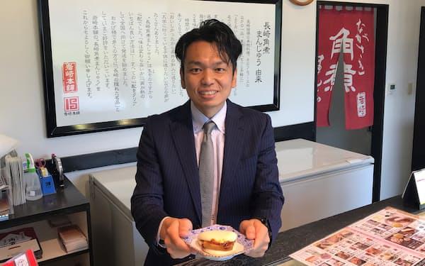 「長崎角煮まんじゅう」を販売する岩崎食品の岩崎礼司社長