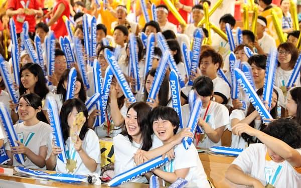 リオ五輪の際、至学館大学のPVは学生らで盛り上がった(2016年8月、愛知県大府市)