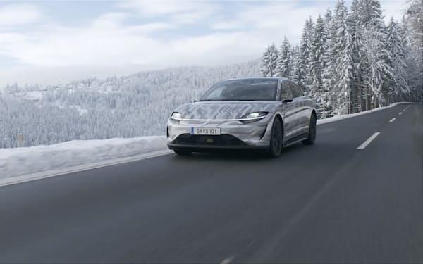 ソニーは2020年12月からオーストリアでEVの公道走行実験に乗り出した(ソニースクエアのスクリーンショット)