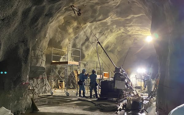 ハイパーカミオカンデの掘削現場=東京大学宇宙線研究所提供