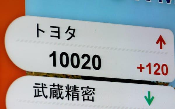 節目の1万円を上回ったトヨタ自動車の株価(15日、名古屋市中区)
