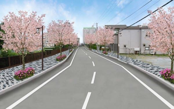 歩道の再整備や桜の植樹で、湯の川温泉街に歩いて行き来しやすくする(函館市ホームページの完成イメージ)