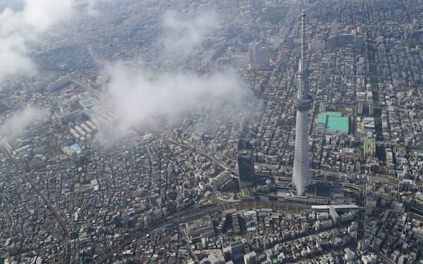 都心の街並みと東京スカイツリー
