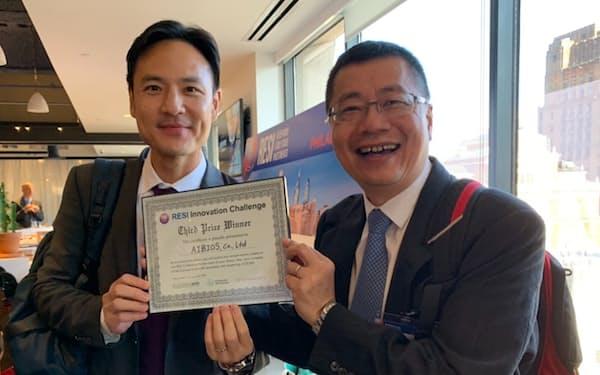 アイバイオズ創業者で最高経営責任者(CEO)の佐藤旭男社長(左)と、最高執行責任者(COO)のChao-Pin Lee氏(右)