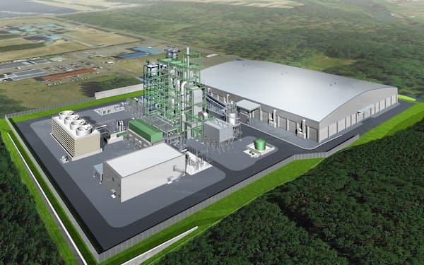 東北電力などと計画する鳥海南バイオマス発電所(山形県遊佐町)の完成イメージ