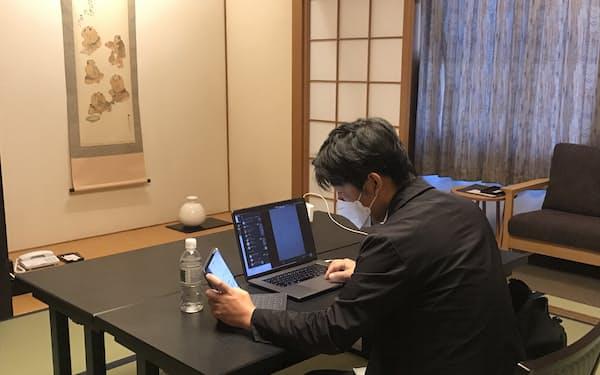 テレワークに訪れた利用者(4月下旬、松山市のホテル椿館)