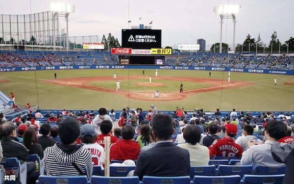 プロ野球を観戦する観客(5月、東京・神宮球場)=共同