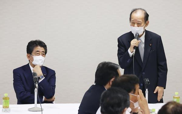 「自由で開かれたインド太平洋」構想を推進する議員連盟の設立総会であいさつする自民党の二階幹事長。左は安倍前首相=15日午後、東京・永田町の党本部