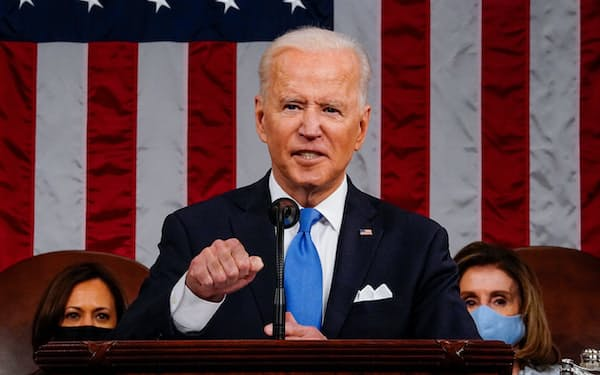 U.S. President Joe Biden addresses to a joint session of Congress in the House chamber of the U.S. Capitol in Washington, U.S., April 28, 2021.  Melina Mara/Pool via REUTERS