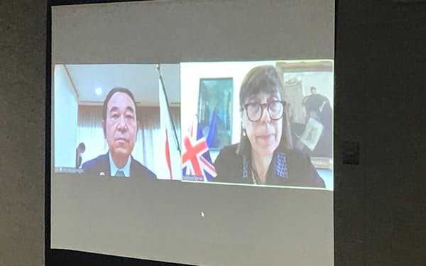 坂本少子化相は英国のバラン孤独担当相とオンラインで協議した(17日、内閣府)