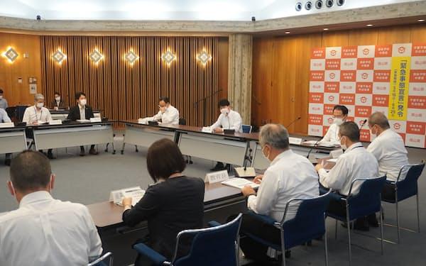 「リバウンド防止強化期間」を設ける(17日、岡山県庁)