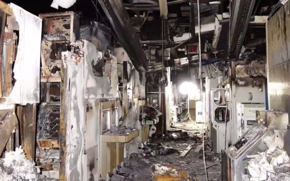 火災直後のルネサス那珂工場N3棟(茨城県ひたちなか市)