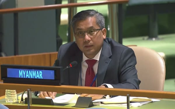 ミャンマーの文民政府を代表するチョー・モー・トゥン国連大使は「どの国も軍の支援から手を引くべきだ」と語った