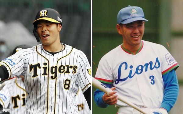 佐藤輝明(写真左、共同)と清原和博はスイングや飛距離など共通項が多い